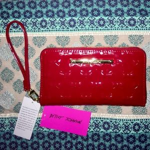 BNWT, Betsey Johnson Red Bow PVC Wallet Z/A Wallet